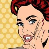 Pop art retro woman in comics style. Vector illustratation Stock Photos