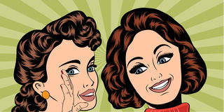 Pop art retro women in comics style that gossip Royalty Free Stock Photos