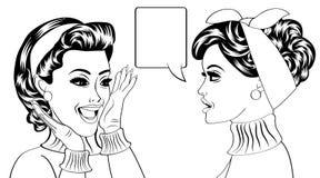 Pop art retro women in comics style that gossip Stock Image