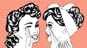 Pop art retro women in comics style that gossip Stock Images