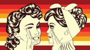 Pop art retro women in comics style that gossip Royalty Free Stock Photos