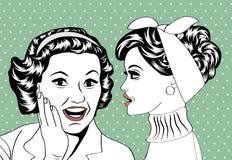 Pop art retro women in comics style that gossip Royalty Free Stock Photo