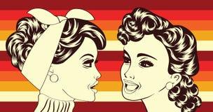 Pop art retro women in comics style that gossip Stock Photos