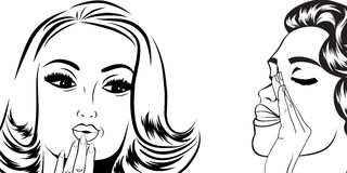 Pop art retro women in comics style that gossip Royalty Free Stock Images