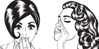Pop art retro women in comics style that gossip Stock Photography