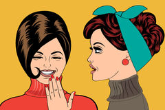 Pop art retro women in comics style that gossip Stock Image