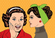 Pop art retro women in comics style that gossip Stock Photo