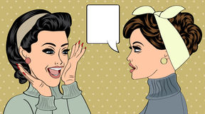 Pop art retro women in comics style that gossip Stock Photography