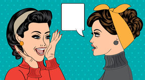 Pop art retro women in comics style that gossip. Vector illustration Royalty Free Stock Photo