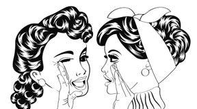 Pop art retro women in comics style that gossip Stock Images