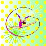 Pop art rhythmic gymnastics, girl with a ribbon on twine. Color background. Comic book style imitation. Pop art rhythmic gymnastics, girl with a ribbon Royalty Free Stock Photos