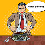 Pop Art Rich Greedy Businessman Eating Money on the Plate Stock Images