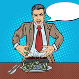 Pop Art Rich Greedy Businessman Eating Money on the Plate Royalty Free Stock Images