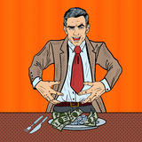 Pop Art Rich Greedy Businessman Eating Money on the Plate Royalty Free Stock Photos