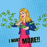 Pop Art Rich Woman Throwing Dollar Banknotes. Successful Blonde Girl with Money. Vector illustration royalty free illustration