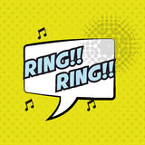 Pop art ring ring bubble speech yellow background design Royalty Free Stock Photography