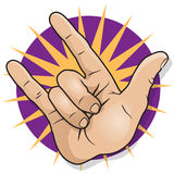 Pop Art Rock and Roll Hand Sign. Stock Photography