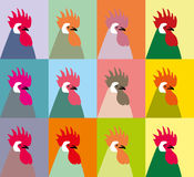 Pop art  roosters vector. Beautiful designs for printing documents stuff, blankets, pillows, pillow cases, bags, T-shirts, sweatsh Stock Photo