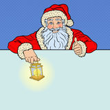 Pop Art Santa Claus with Advertising Empty Banner. Merry Christmas and Happy New Year Greeting Card Stock Photo