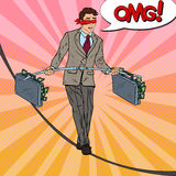 Pop Art Scared Business Man Walking on the Rope with Two Money Briefcase. Investment Risk Royalty Free Stock Photo