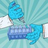 Pop Art Scientist Working met Medische apparatuur Chemische analyse Wetenschappelijke onderzoekachtergrond wetenschappelijk onder vector illustratie