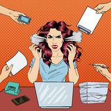 Pop Art Screaming Angry Business Woman with Laptop at Office Work Royalty Free Stock Image