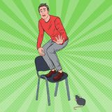 Pop Art Screaming Man Scared by the Mouse. Guy Afraid of Rat. Vector illustration Stock Photography