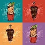 Pop art seamless pattern of doner kebab. Roll, chicken roll, fast food, kebab, shawarma. Cartoon style. Hand drawn vector illustration vector illustration