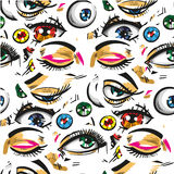 Pop art seamless pattern with eyes Stock Image