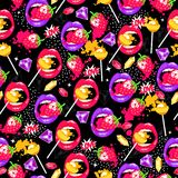 Pop art seamless pattern with lips, strawberry, lollipops, diamonds and love. Royalty Free Stock Photography