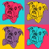 Pop art seamless pattern. Portrait of dog Bulldog. T-shirt graphics. Illustration for fashion print, poster, textiles, fashion design royalty free illustration