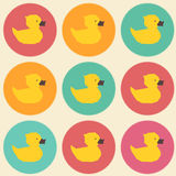 Pop-art seamless vintage yellow ducks polygon pattern Stock Images