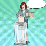 Pop Art Secretary Woman Destroying Paper Documents in Shredder Royalty Free Stock Image