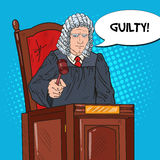 Pop Art Senior Judge in Courthouse Striking the Gavel. Law and Judical System Stock Image
