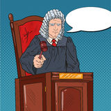 Pop Art Senior Judge in Courthouse Striking the Gavel. Law and Legal System Royalty Free Stock Image