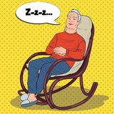 Senior Man Sleeping In Armchair Stock Image - Image of ...