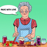 Pop Art Senior Woman Making Homemade Jam. Healthy Eating Royalty Free Stock Photo
