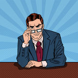 Pop Art Serious Businessman with Eyeglasses Stock Photo