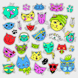 Pop art set with fashion patch badges. Cats and kittens Stickers, pins, patches, quirky, handwritten notes collection Royalty Free Stock Photos