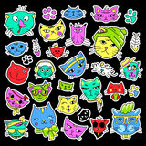 Pop art set with fashion patch badges. Cats and kittens Stickers, pins, patches, quirky, handwritten notes collection. 80s-90s style. Trend. Vector Stock Image