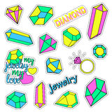Pop art set with fashion patch badges and different diamonds, jewelry. Stickers, pins, patches, quirky, handwritten. Notes collection. 80s-90s style. Trend Stock Photography