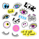 Pop art set with fashion patch badges and different eyes. Stickers, pins, patches, quirky, handwritten notes collection Royalty Free Stock Images