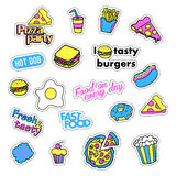 Pop art set with fashion patch badges and different fast food elements. Stickers, pins, patches, quirky, handwritten. Pop art set with fashion patch badges and Stock Photography