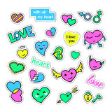Pop art set with fashion patch badges and different hearts. Stickers, pins, patches, quirky, handwritten notes. Collection. 80s-90s style. Trend. Vector Stock Photography