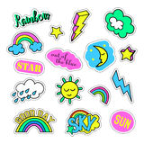 Pop art set with fashion patch badges and different sky elements. Stickers, pins, patches, quirky, handwritten notes Stock Photo
