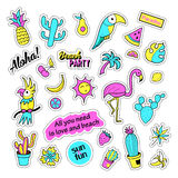 Pop art set with fashion patch badges and different tropical elements. Stickers, pins, patches, quirky, handwritten Stock Image