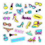 Pop art set with fashion patch badges and girls elements. Stickers, pins, patches, quirky, handwritten notes collection Stock Images
