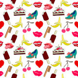 Pop art set. 1990s design. Hand drawn stickers inspired by 1980-1990s comics design. Lips, sweets, heart, shoes royalty free illustration