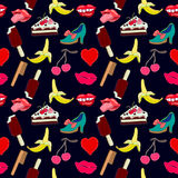 Pop art set. 1990s design. Hand drawn stickers inspired by 1980-1990s comics design. Lips, sweets, heart, shoes vector illustration