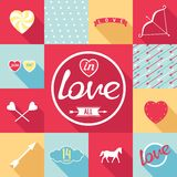 Pop-art set symbol of love Royalty Free Stock Photo